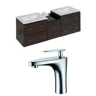 Hinerman 62 Wall-Mounted Double Bathroom Vanity Set