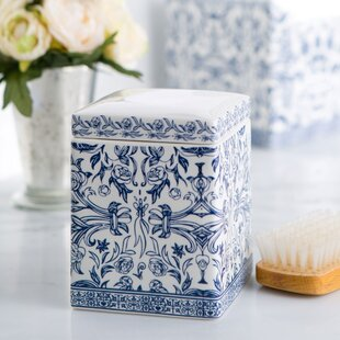porcelain cotton container - White Bathroom Accessories Ceramic