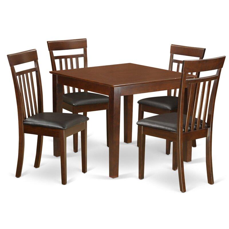 Alcott Hill Cobleskill 5 Piece Rubberwood Solid Wood Dining Set Reviews Wayfair