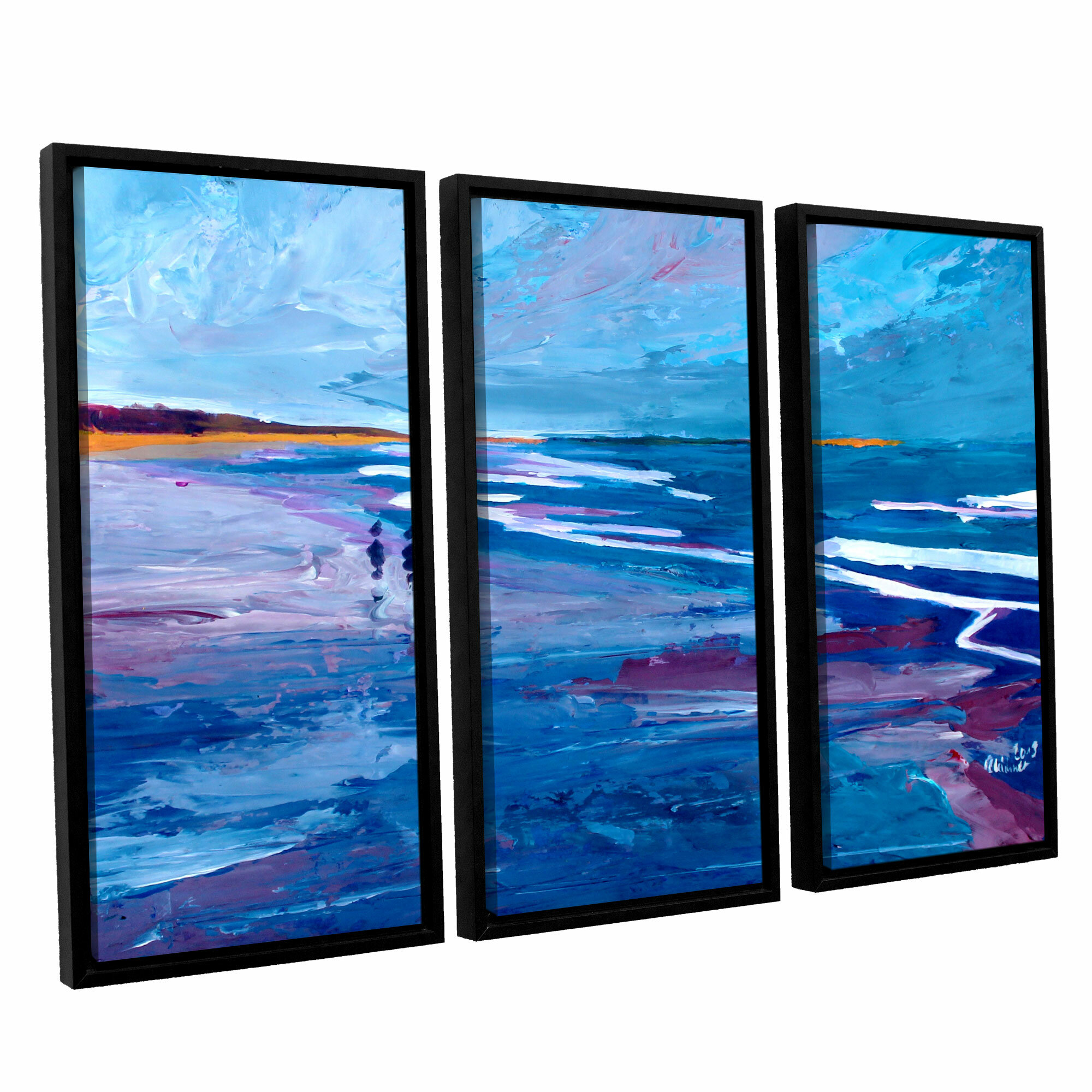 Artwall Seascape Near Big Sur By Marcus Martina Bleichner 3 Piece Framed Painting Print Set Wayfair