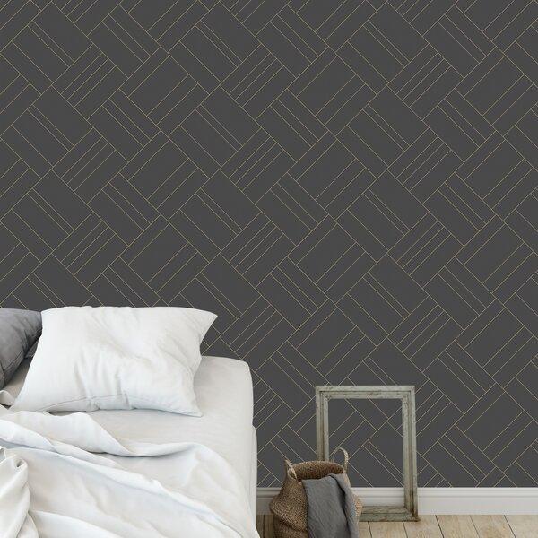 Photo Flara Intersection Mint 48 L x 24 W Peel and Stick Wallpaper Panel byEbern Designs
