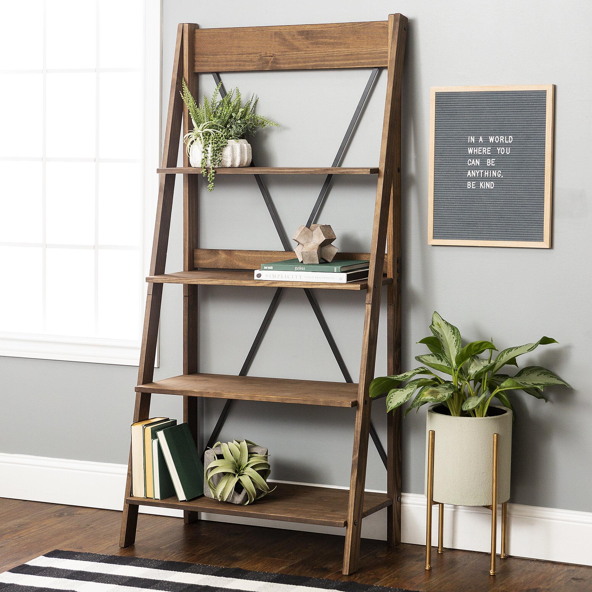 Gracie Oaks Ridgedale 68 H X 31 W Solid Wood Ladder Bookcase Wayfair