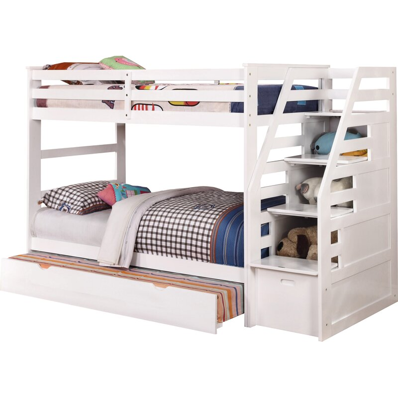 wildon home cosmo twin over twin bunk bed with trundle and storage reviews wayfair. Black Bedroom Furniture Sets. Home Design Ideas