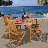 Ervine International Home Outdoor 7 Piece Teak Dining Set