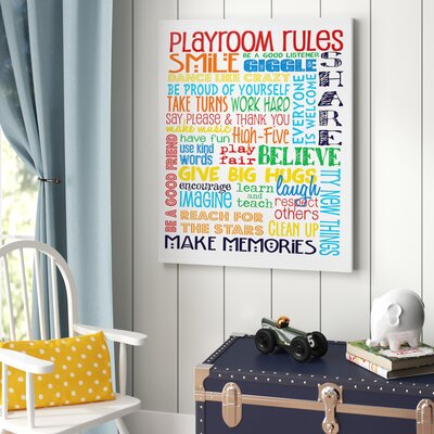 Viv Rae Genesis Rainbow Playroom Rules Smile Textured Canvas Art Reviews