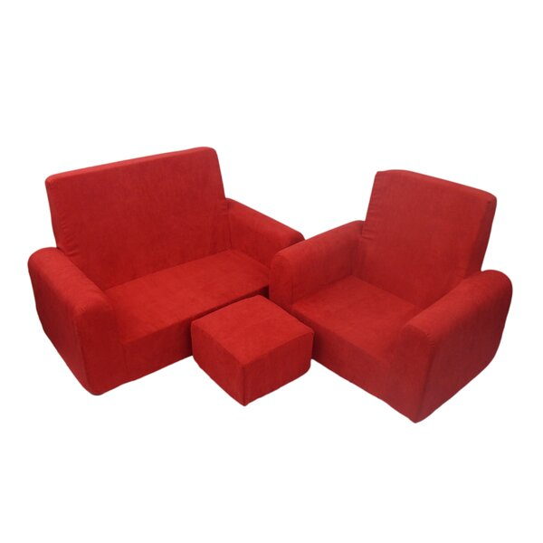Fun Furnishings 3 Piece Kids Sofa Chair And Ottoman Set U0026 Reviews | Wayfair