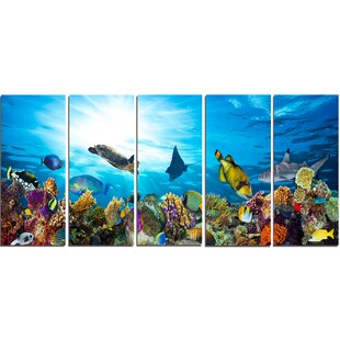 Colorful Coral Reef With Fishes 5 Piece Wall Art On Wrapped Canvas Set