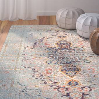 Wrought Studio Burciaga Power Loom Blue Rug Reviews Wayfair Co Uk
