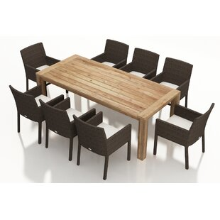 Harmonia Living Arden 9 Piece Teak Dining Set with Sunbrella Cushions