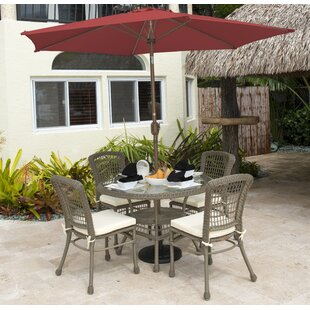 Panama Jack Outdoor Carolina Beach 5 Piece Sunbrella Dining Set with Cushions