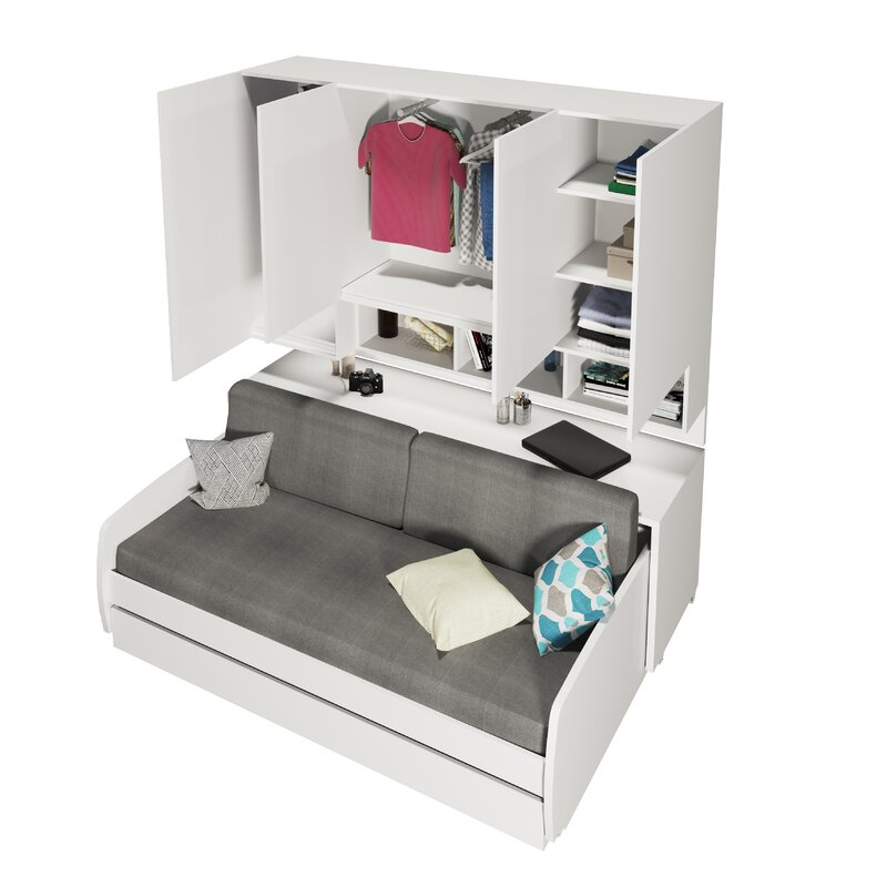 Compact Sofa And Cabinets Wall Twin Murphy Bed