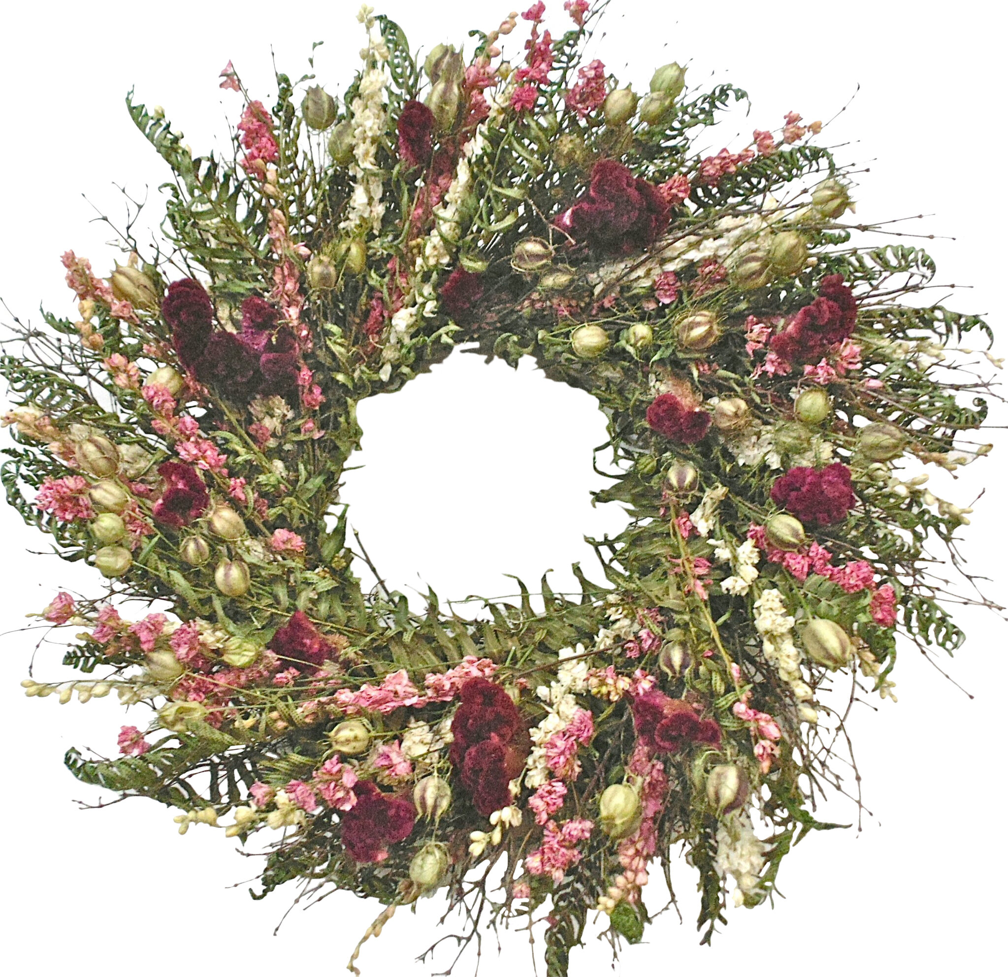 New Primitive Cottage Chic Rustic TWIG GREEN FERN Leaves Candle Ring Wreath