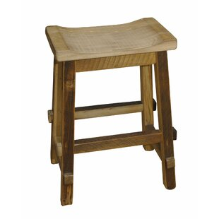 Tulane 30 Barnwood Saddle Stool Millwood Pines