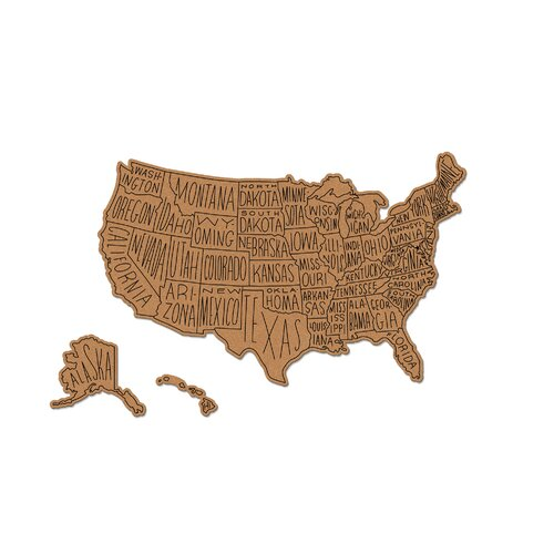 Easy Tiger Corkboard Maps Hand Lettered Us Routed 22 X 35