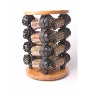 Round Bamboo 16 Jar Spice Jar & Rack Set