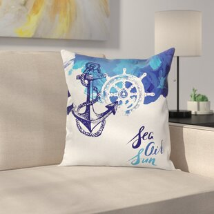Anchor Decor Nautical Wheel Square Pillow Cover