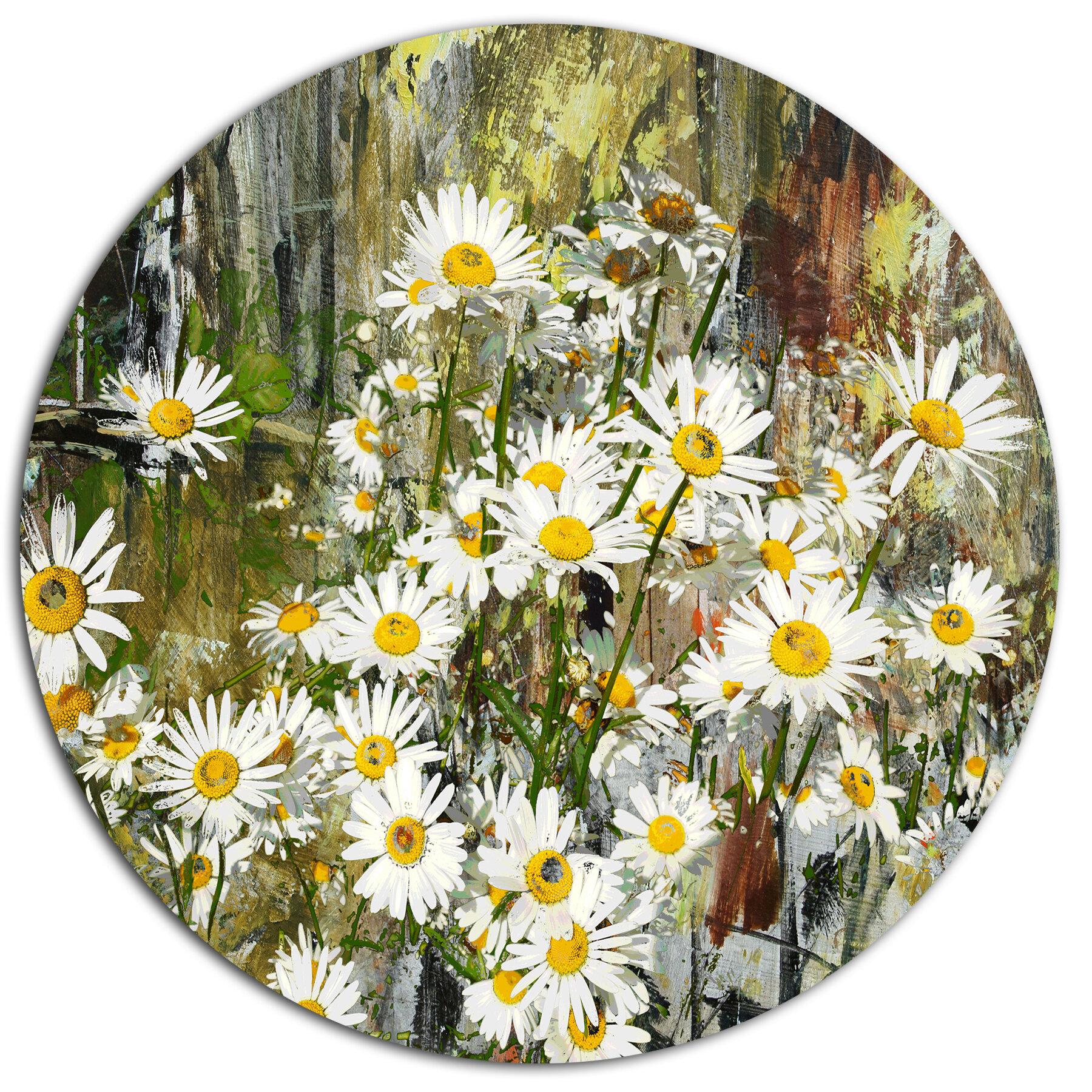 DesignArt 'Daisies Flowers Under the Window' Oil Painting Print on Metal | Wayfair.ca