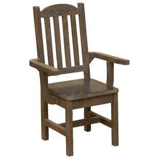 Price comparison Frontier Cathedral Solid Wood Dining Arm Chair by Fireside Lodge Reviews (2019) & Buyer's Guide