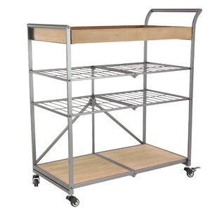 Marie-Beatrice Modern Iron and Wood Storage Bar Cart by 17 Stories