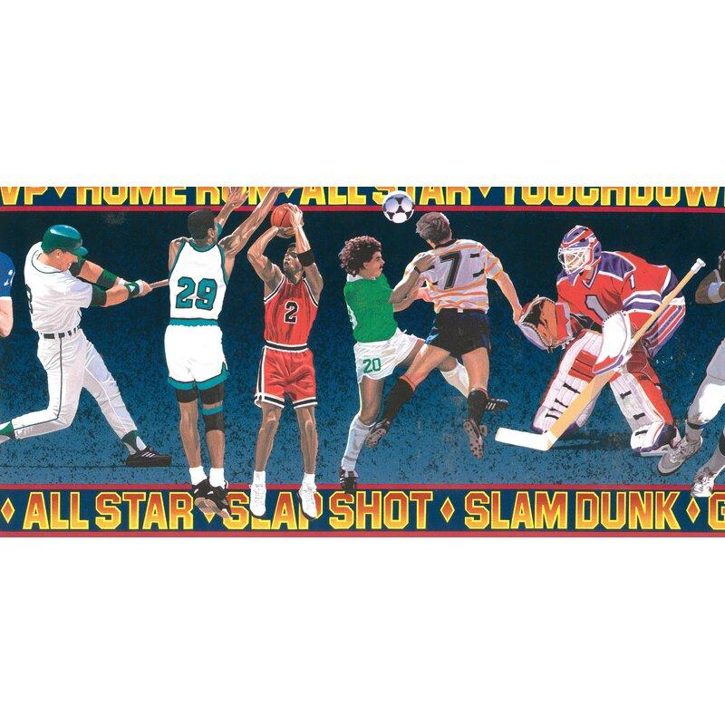 Zoomie Kids Tryon Sports Football Baseball Soccer Basketball Hockey 15 L X 11 5 W Wallpaper Border Wayfair