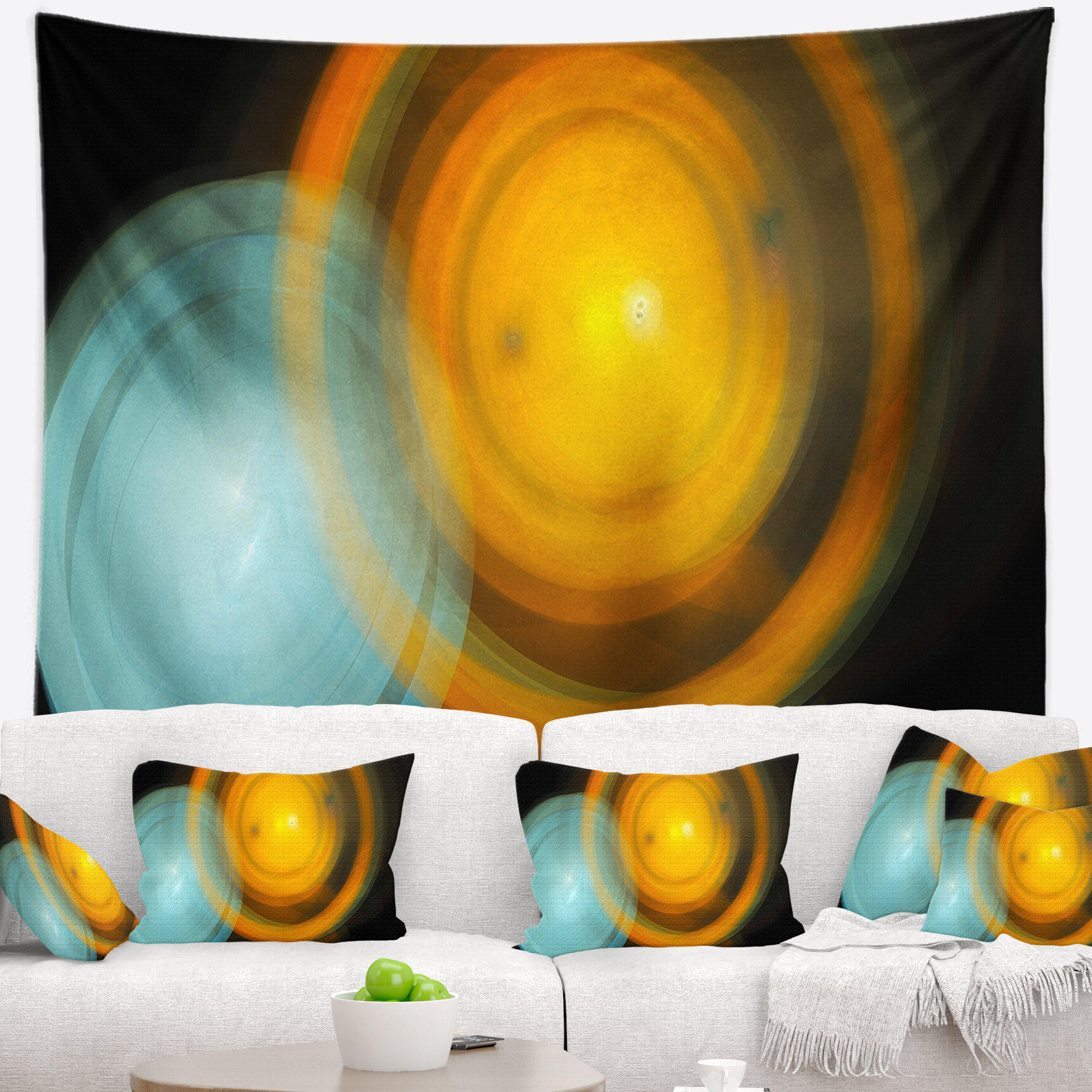 East Urban Home Abstract Orange Fractal Desktop Tapestry and Wall ...