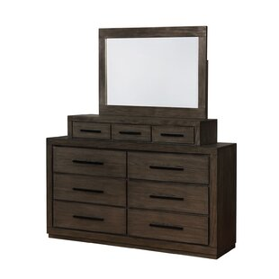 Nieves 9 Drawer Double Dresser with Mirror by Andrew Home Studio