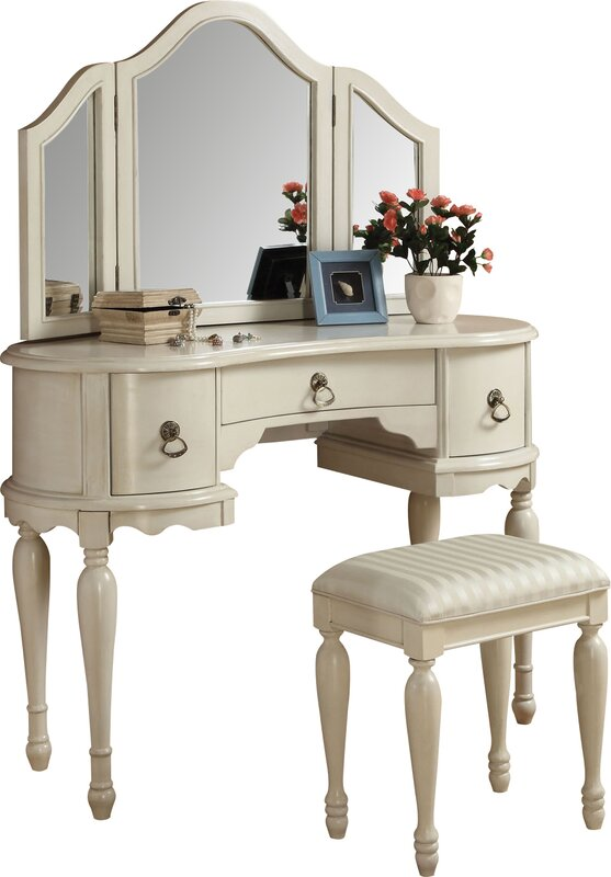 Infini Furnishings Makeup Vanity Set With Mirror  Reviews Wayfair - Mirrored makeup vanity set