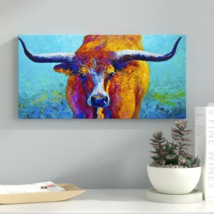 U0027Wide Spread Texas Longhornu0027 Painting Print On Wrapped Canvas