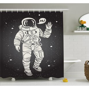 Reviews Outer Space Pop Art Astronaut Saluting with Speech Bubble Comet Adventure Traveler Shower Curtain Set By Ambesonne