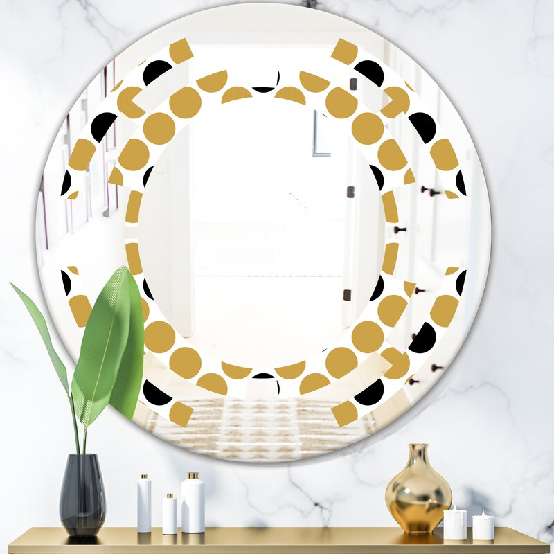 East Urban Home Space Polka Dot Modern Frameless Wall Mirror