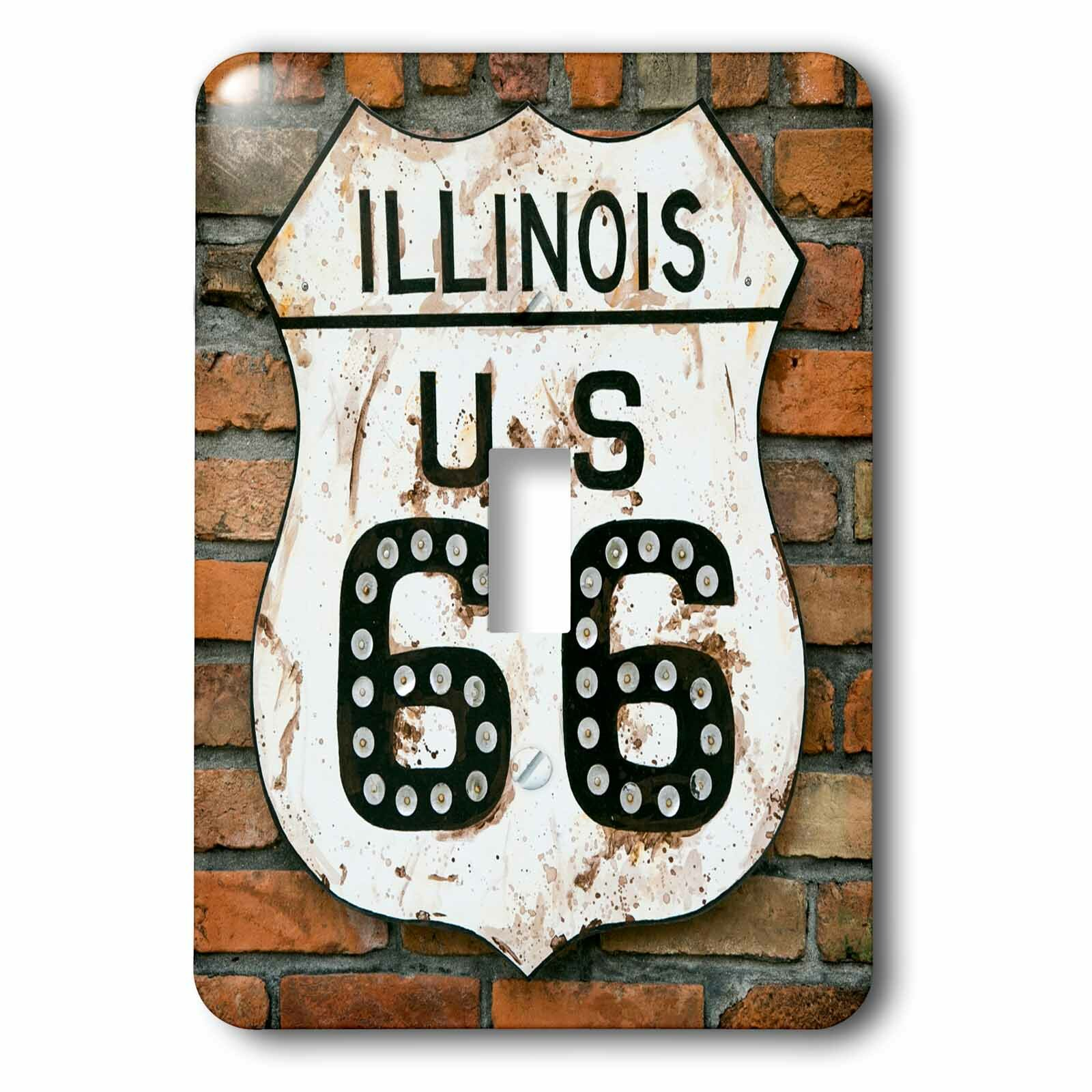3drose Dirty Illinois Route 66 Sign 1 Gang Toggle Light Switch Wall Plate Wayfair