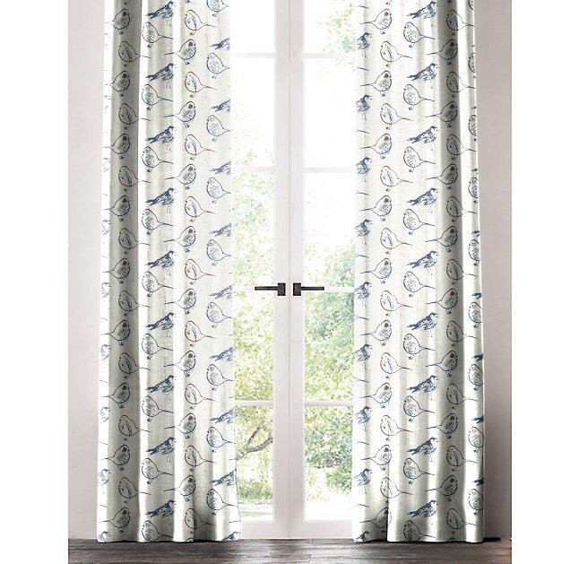 Brayden Studio Horrell Bird Sketch Toile Room Darkening Rod Pocket Single Curtain Panel Reviews Wayfair