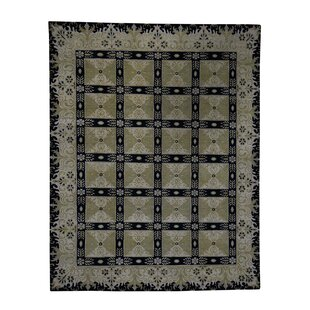 Compare & Buy One-of-a-Kind Neo Classic Rosette Pure European Hand-Knotted 8'3 x 10'5 Silk Green/Black Area Rug By 1800GETARUG