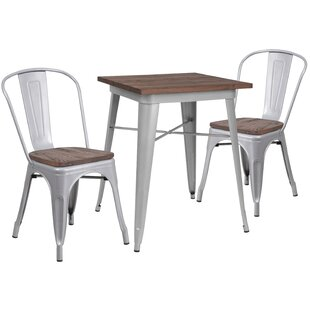 Malave 3 Piece Solid Wood Dining Set by Williston Forge