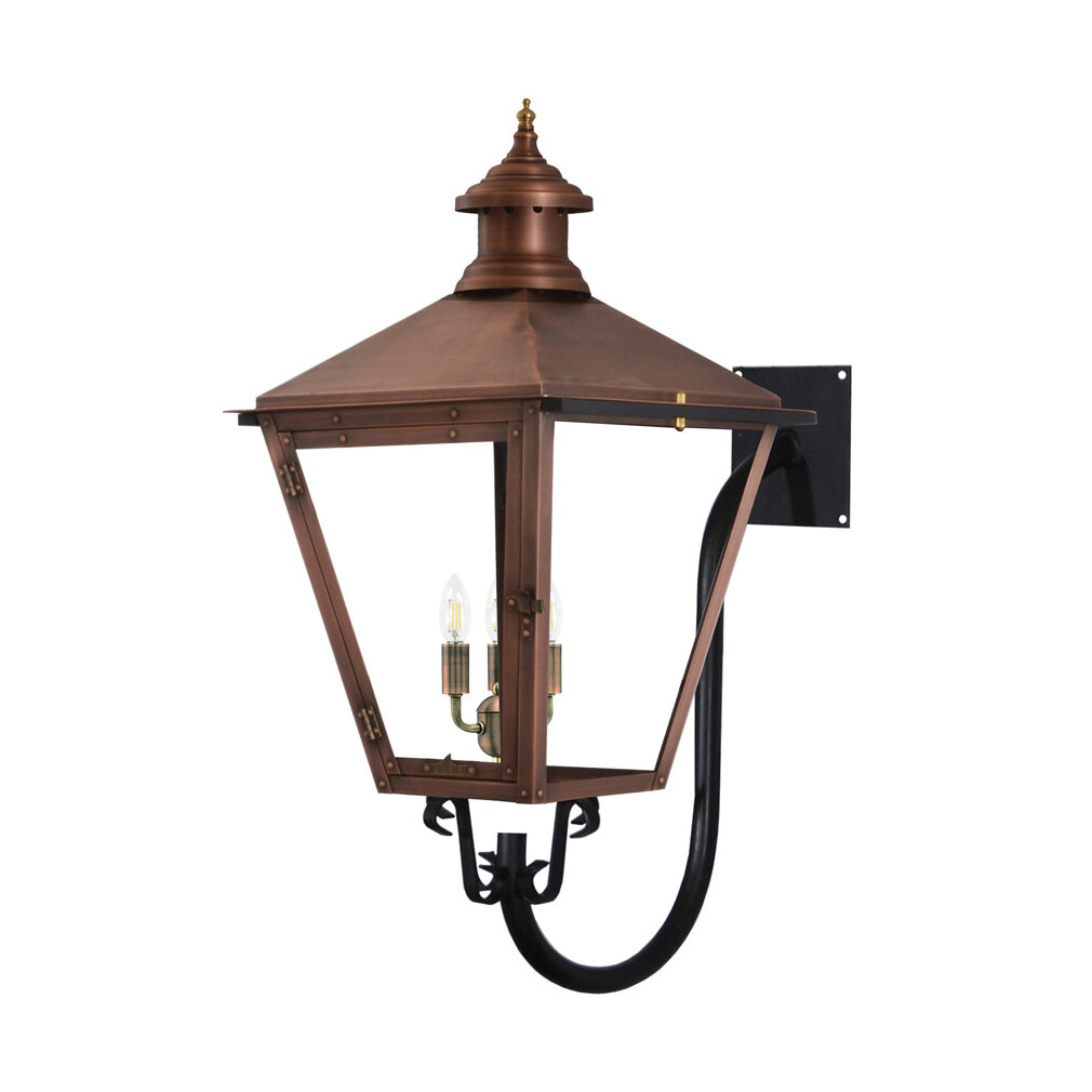 Red Barrel Studio Dyersville Aged Copper 3 Bulb 30 H Outdoor Wall Lantern Wayfair