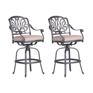 Bean Swivel Patio Bar Stool with Cushion (Set of 2)
