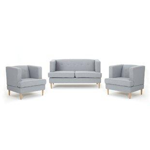 Lindbergh 3 Piece Living Room Set by Mercury Row