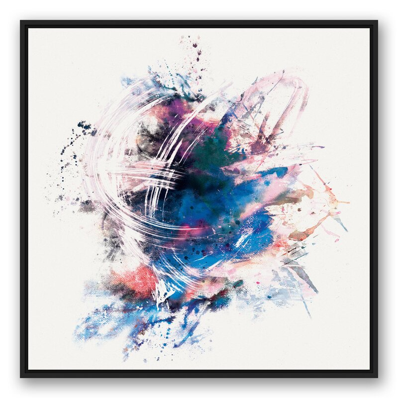 Wrought Studio Colorful Blue Brush Strokes Framed Graphic Art Print On Canvas Wayfair