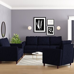 Anglin Solid Raisin Fabric Modern 3 Piece Living Room Set by Wrought Studio