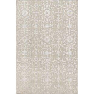 Look for Poirier Hand-Knotted Khaki/White Area Rug ByLark Manor