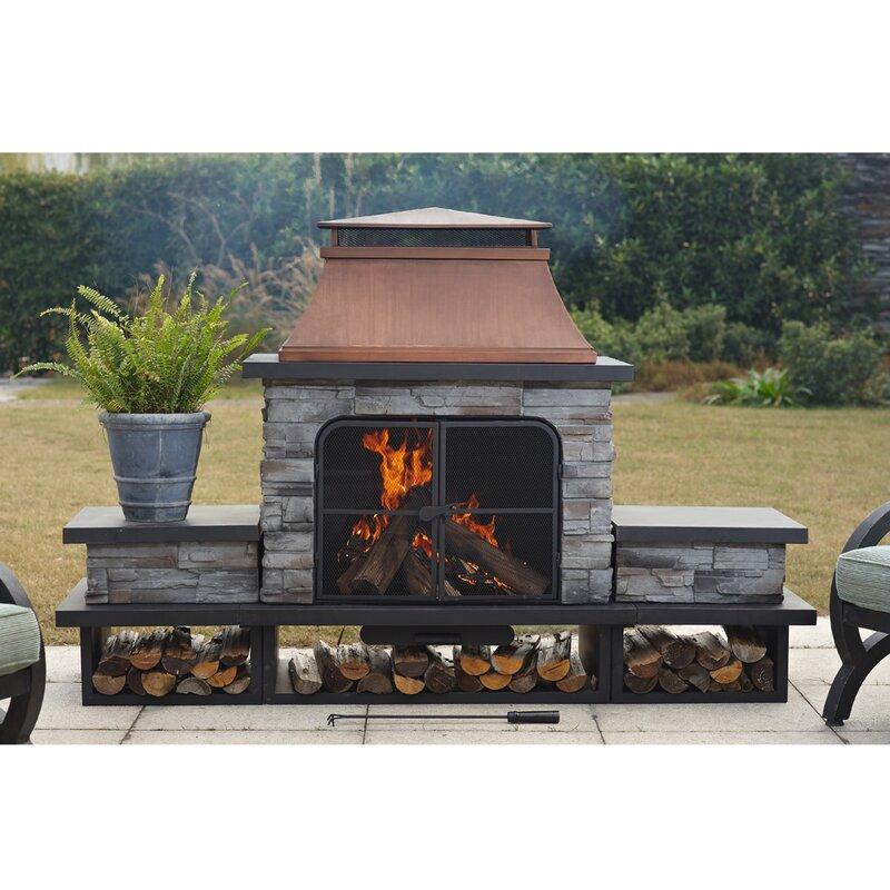 Canora Grey Quillen Steel Wood Burning Outdoor Fireplace ... on Quillen Steel Wood Burning Outdoor Fireplace id=64778