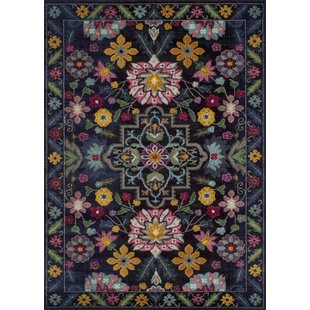 Top Reviews Plinio Vibrant Bloom Black Area Rug By Bungalow Rose