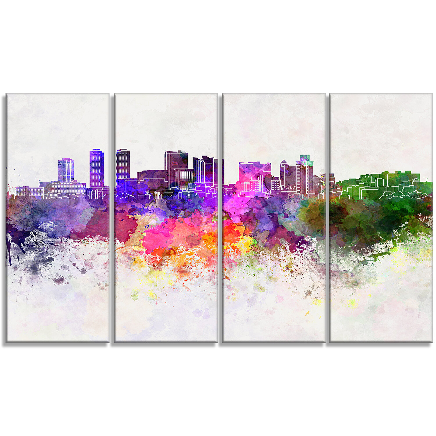 Designart Colombo Skyline Cityscape 4 Piece Painting Print On Wrapped Canvas Set Wayfair