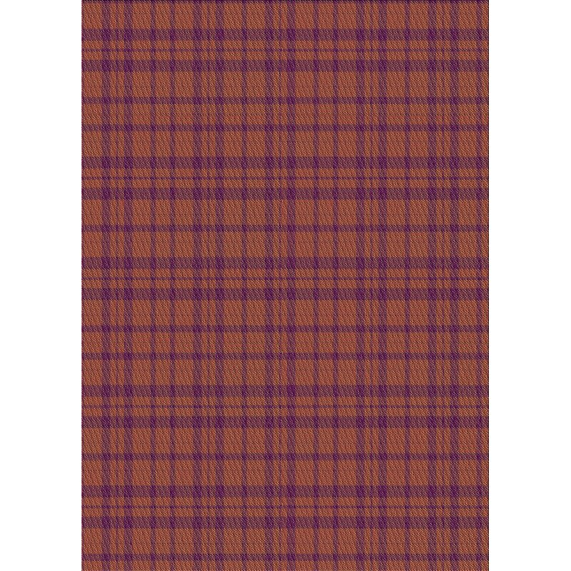 Checkered Wool Brown Purple Area Rug
