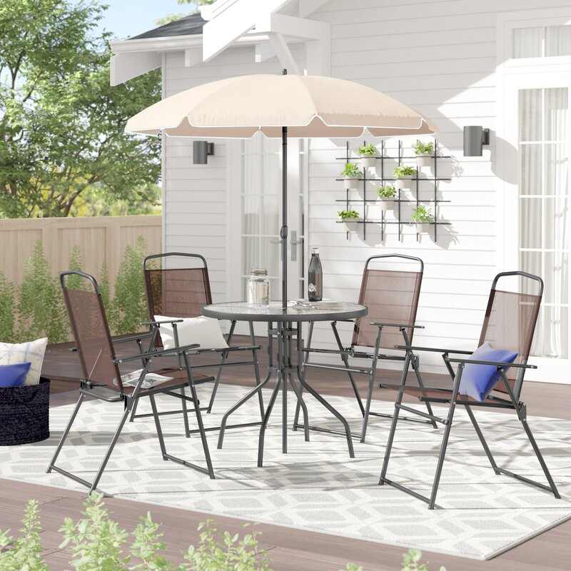 Tollette Round 4 Person 31.25 Inch Long Dining Set with Umbrella