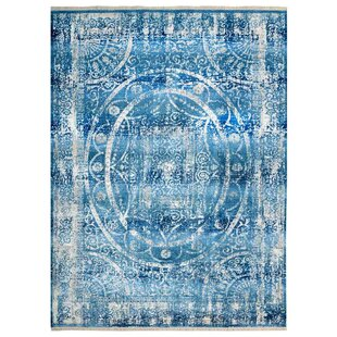 Best Price Mcmullan Oriental Blue/White Area Rug By Bungalow Rose