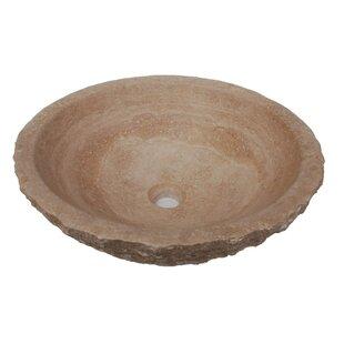 Online Reviews Rough Exterior Stone Circular Vessel Bathroom Sink ByEden Bath