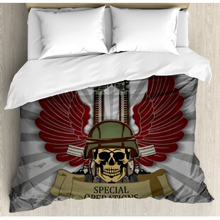 East Urban Home Skull Military Force Theme with Helmet Wings and Guns Army Symbol Rifles Art Duvet Set