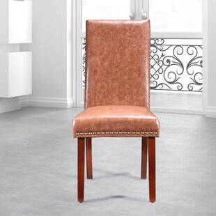 Traditional Waxed Texture Nail Head Parsons Chair (Set of 2)