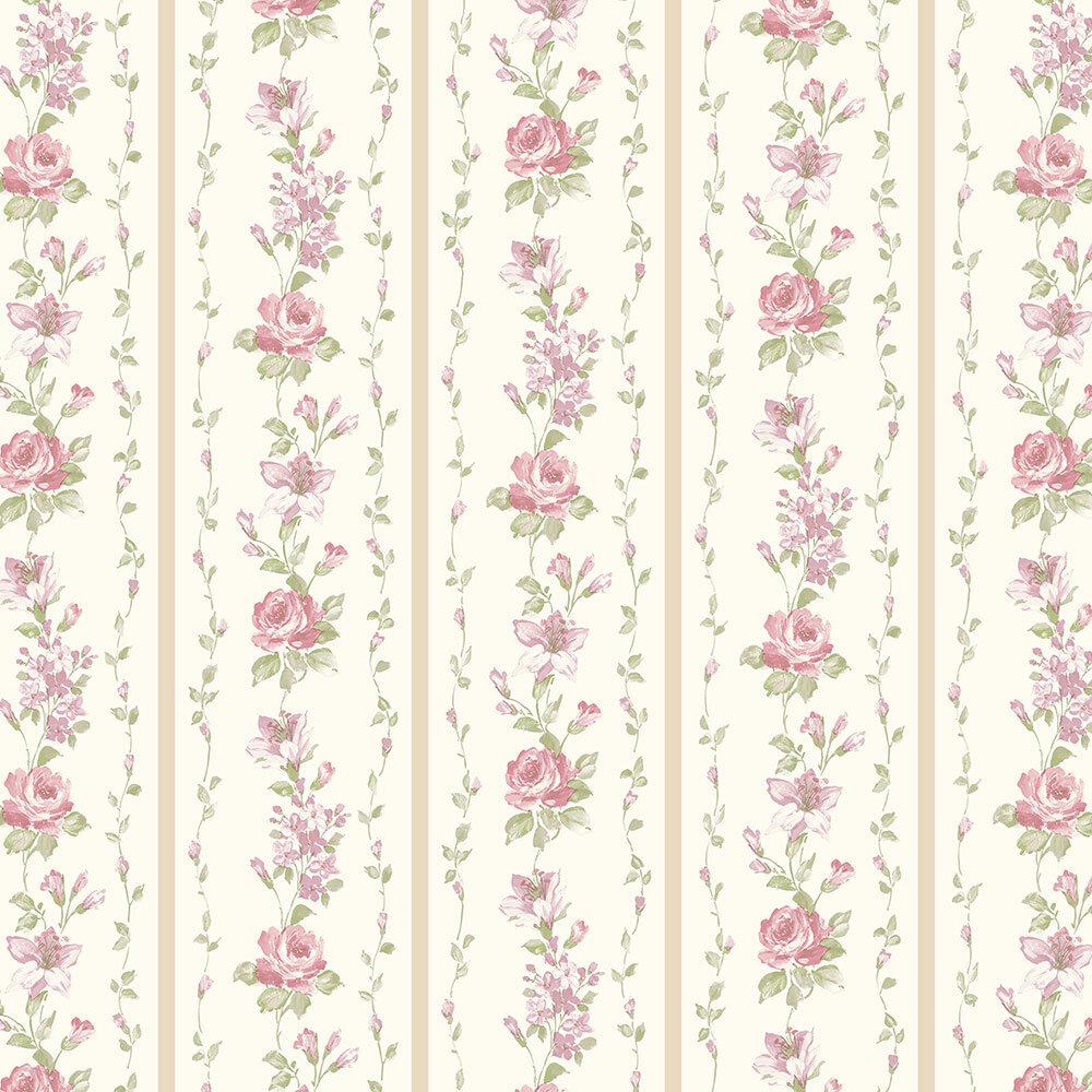 August Grove Drews Floral Stripe 32 7 L X 20 5 W Wallpaper Roll